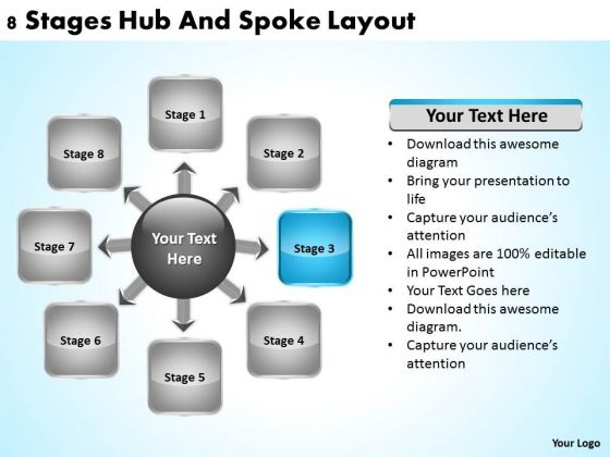 Business Development Process Flowchart 8 Stages Hub And Spoke Layout PowerPoint Slides