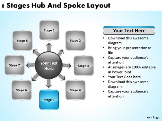Business Development Process Flowchart 8 Stages Hub And Spoke Layout Ppt PowerPoint Slide