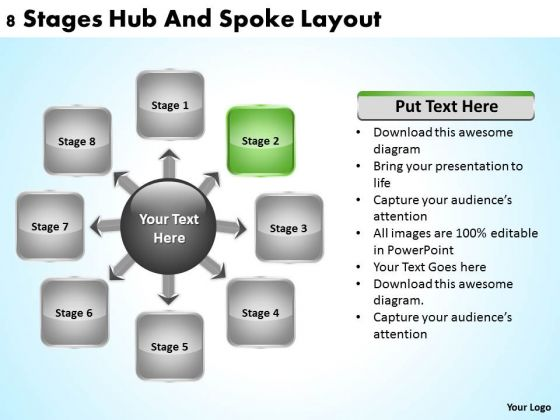 Business Development Process Flowchart 8 Stages Hub And Spoke Layout Ppt PowerPoint Slides