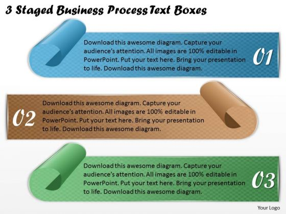 Business Development Strategy 3 Staged Process Text Boxes Strategic Planning Templates