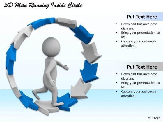 Business Development Strategy 3d Man Running Inside Circle Character Modeling