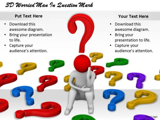 Business Development Strategy 3d Worried Man Question Mark Concept Statement