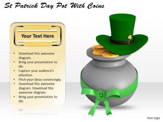 Business Development Strategy Patricks Day Pot With Coins Icons Images