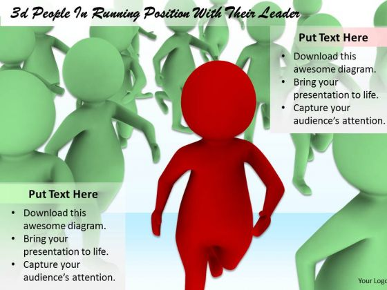 Business Development Strategy Template 3d Leader Running Ahead Of Crowd Concepts