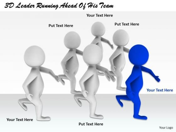 Business Development Strategy Template 3d Leader Running Ahead Of His Team Concepts