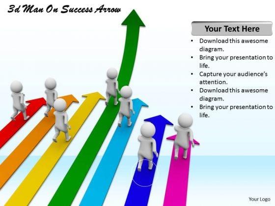 Business Development Strategy Template 3d Man On Success Arrow Characters