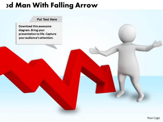 Business Development Strategy Template 3d Man With Falling Arrow Characters