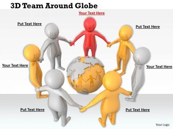 Business Development Strategy Template 3d Team Around Globe Basic Concepts