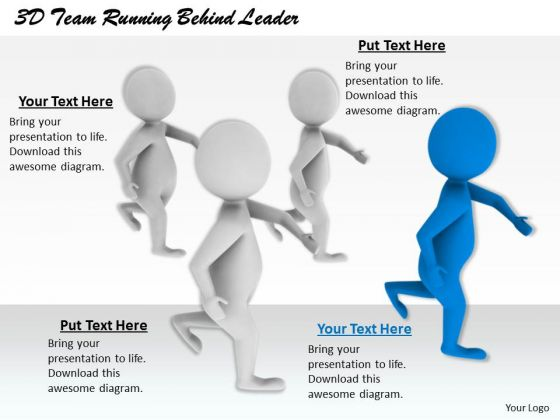 Business Development Strategy Template 3d Team Running Behind Leader Character Modeling