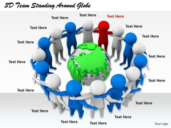 Business Development Strategy Template 3d Team Standing Around Globe Character Modeling