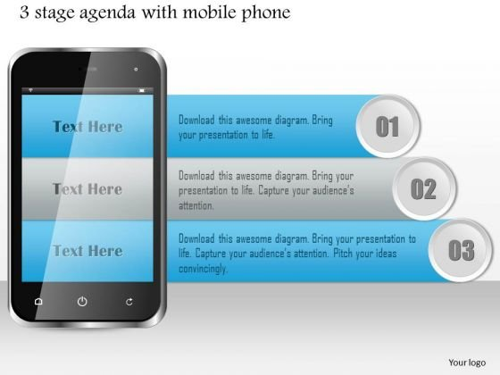 Business Diagram 3 Stage Agenda With Mobile Phone Presentation Template