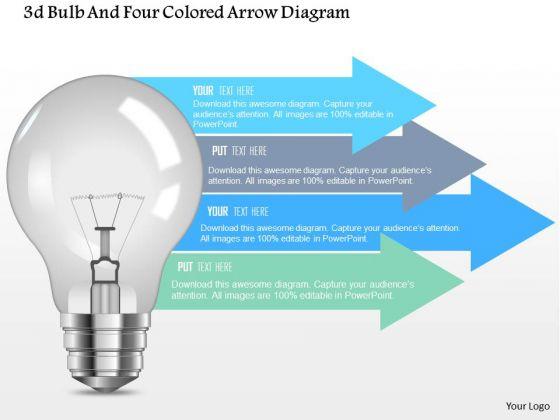 Business Diagram 3d Bulb And Four Colored Arrow Diagram Presentation Template