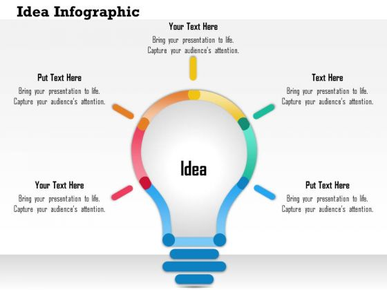 Business Diagram 3d Bulb With Text Boxes For Data Representation Presentation Template