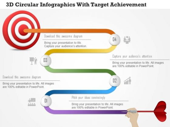 business diagram 3d circular infographics with target achievement