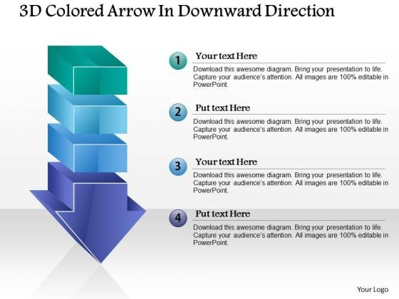 Business Diagram 3d Colored Arrow In Downward Direction PowerPoint Template
