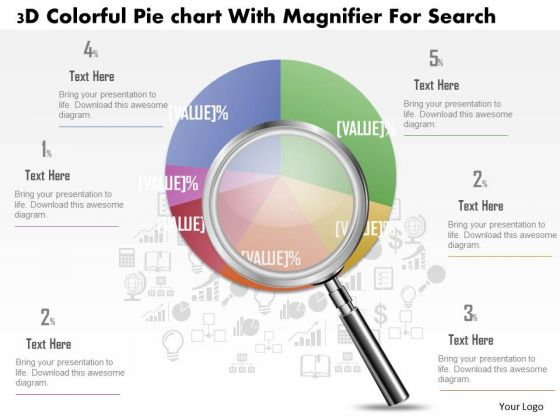 Business Diagram 3d Colorful Pie Graph With Magnifier Data Search PowerPoint Slide