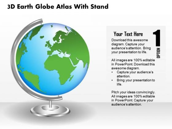 Business Diagram 3d Earth Globe Atlas With Stand Presentation ...