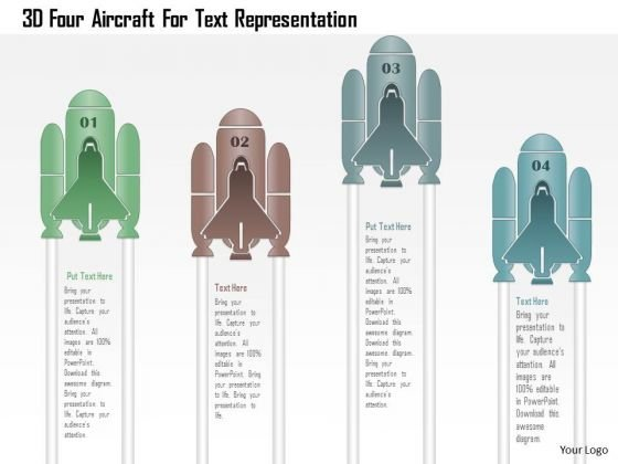 Business Diagram 3d Four Aircraft For Text Representation PowerPoint Template