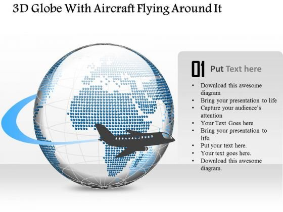 business diagram 3d globe with aircraft flying around it, Presentation templates