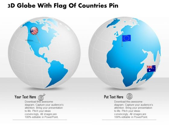 Business Diagram 3d Globe With Flag Of Countries Pin Presentation Template