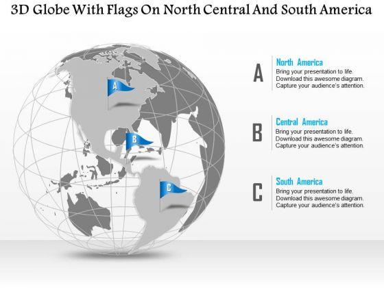 Business Diagram 3d Globe With Flags On North Central And South America Presentation Template