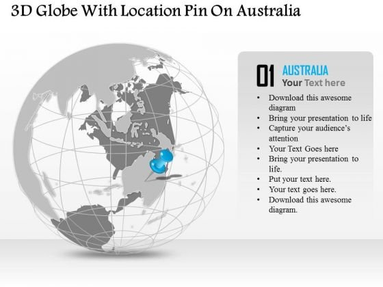 Business Diagram 3d Globe With Location Pin On Australia Presentation Template