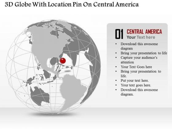 Business Diagram 3d Globe With Location Pin On Central America Presentation Template
