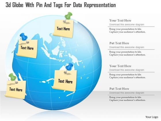 Business Diagram 3d Globe With Pin And Tags For Data Representation Presentation Template