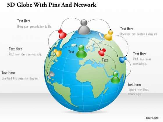 Business Diagram 3d Globe With Pins And Network Presentation Template