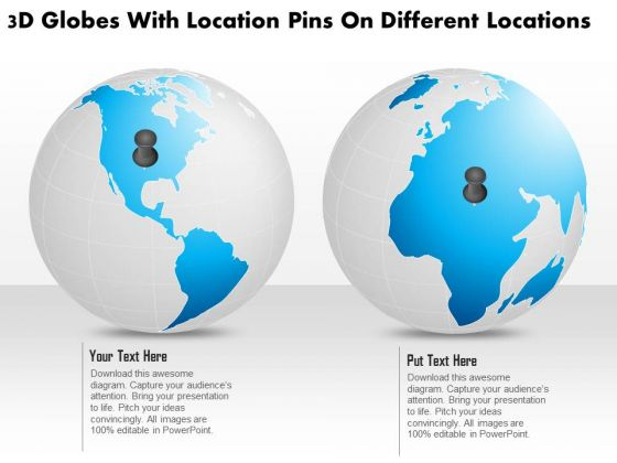 Business Diagram 3d Globes With Location Pins On Different Locations Presentation Template