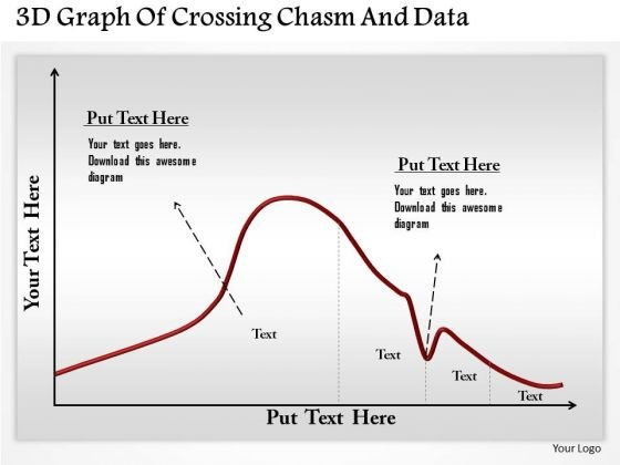 Business Diagram 3d Graph Of Crossing Chasm And Data Presentation Template