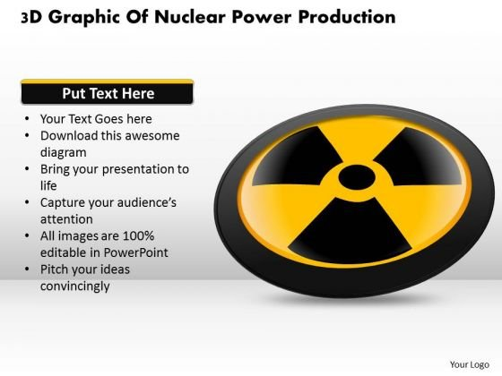 Business Diagram 3d Graphic Of Nuclear Power Production Presentation Template