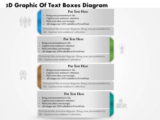 Business Diagram 3d Graphic Of Text Boxes Diagram PowerPoint Ppt Presentation