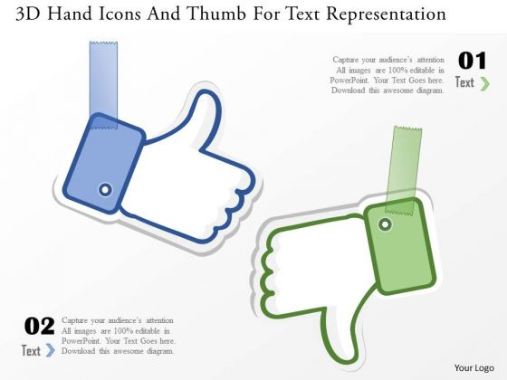 business_diagram_3d_hand_icons_and_thumb_for_text_representation_powerpoint_template_1