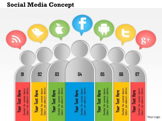 Business Diagram 3d Human Icons For Social Media Concept Presentation Template