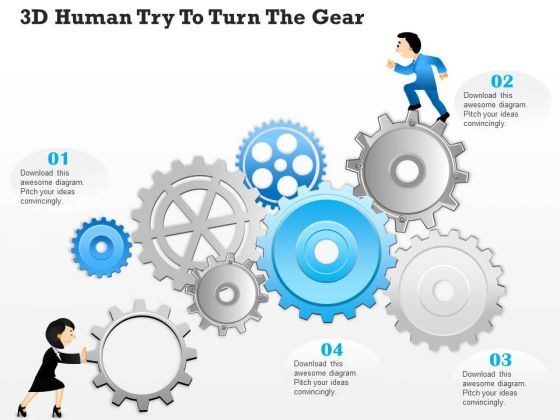 Business Diagram 3d Human Try To Turn The Gear Presentation Template