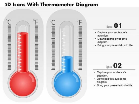 Business Diagram 3d Icons With Thermometer Diagram PowerPoint Ppt Presentation