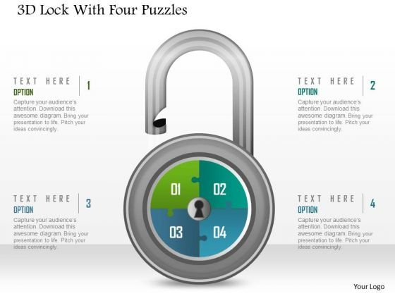 Business Diagram 3d Lock With Four Puzzles PowerPoint Template