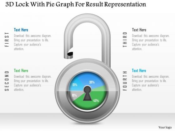 Business Diagram 3d Lock With Pie Graph For Result Representation PowerPoint Slide