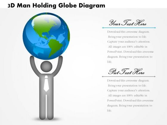 Business Diagram 3d Man Holding Globe Diagram PowerPoint Ppt Presentation