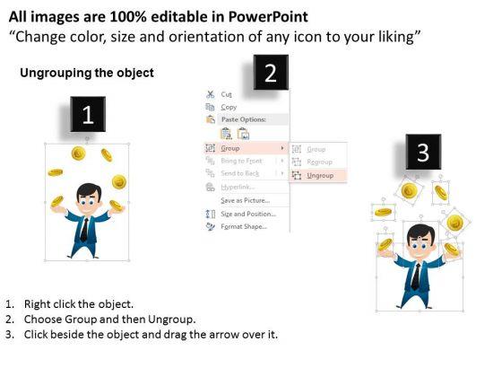 business_diagram_3d_man_juggling_gold_coins_presentation_template_2