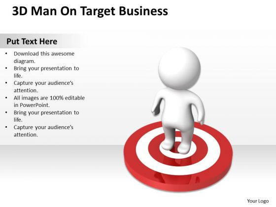 Business Diagram 3d Man On Target PowerPoint Presentations Templates