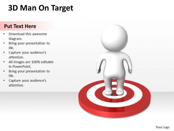 Business Diagram 3d Man On Target PowerPoint Templates