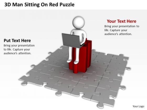 Business Diagram 3d Man Sitting On Red Puzzle PowerPoint Slides