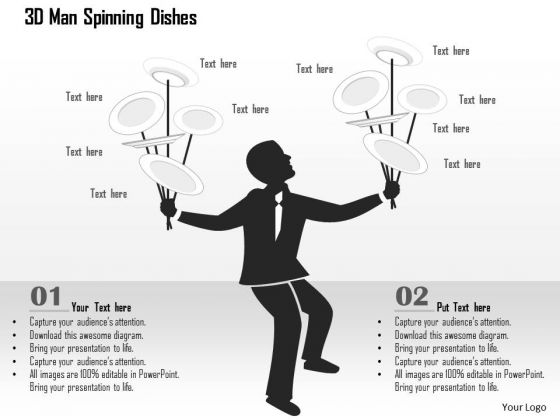 Business Diagram 3d Man Spinning Dishes Presentation Template