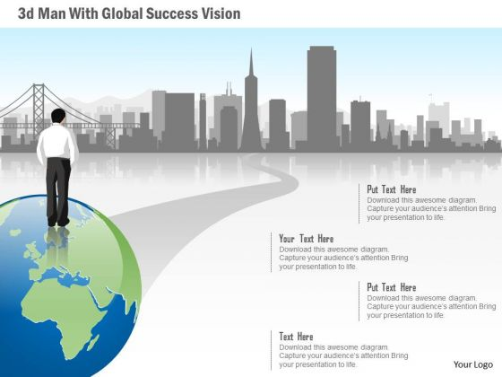 Business Diagram 3d Man With Global Success Vision Presentation Template
