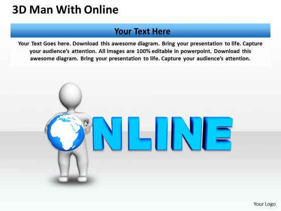 Business Diagram 3d Man With Online PowerPoint Templates