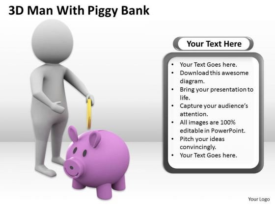 Business Diagram 3d Man With Piggy Bank PowerPoint Templates