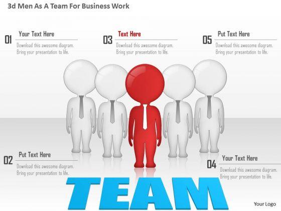 business diagram 3d men as a team for business work presentation, Presentation templates