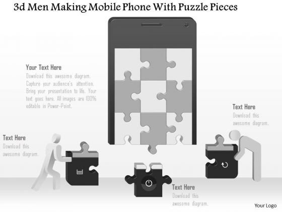 Business Diagram 3d Men Making Mobile Phone With Puzzle Pieces Ppt Slide